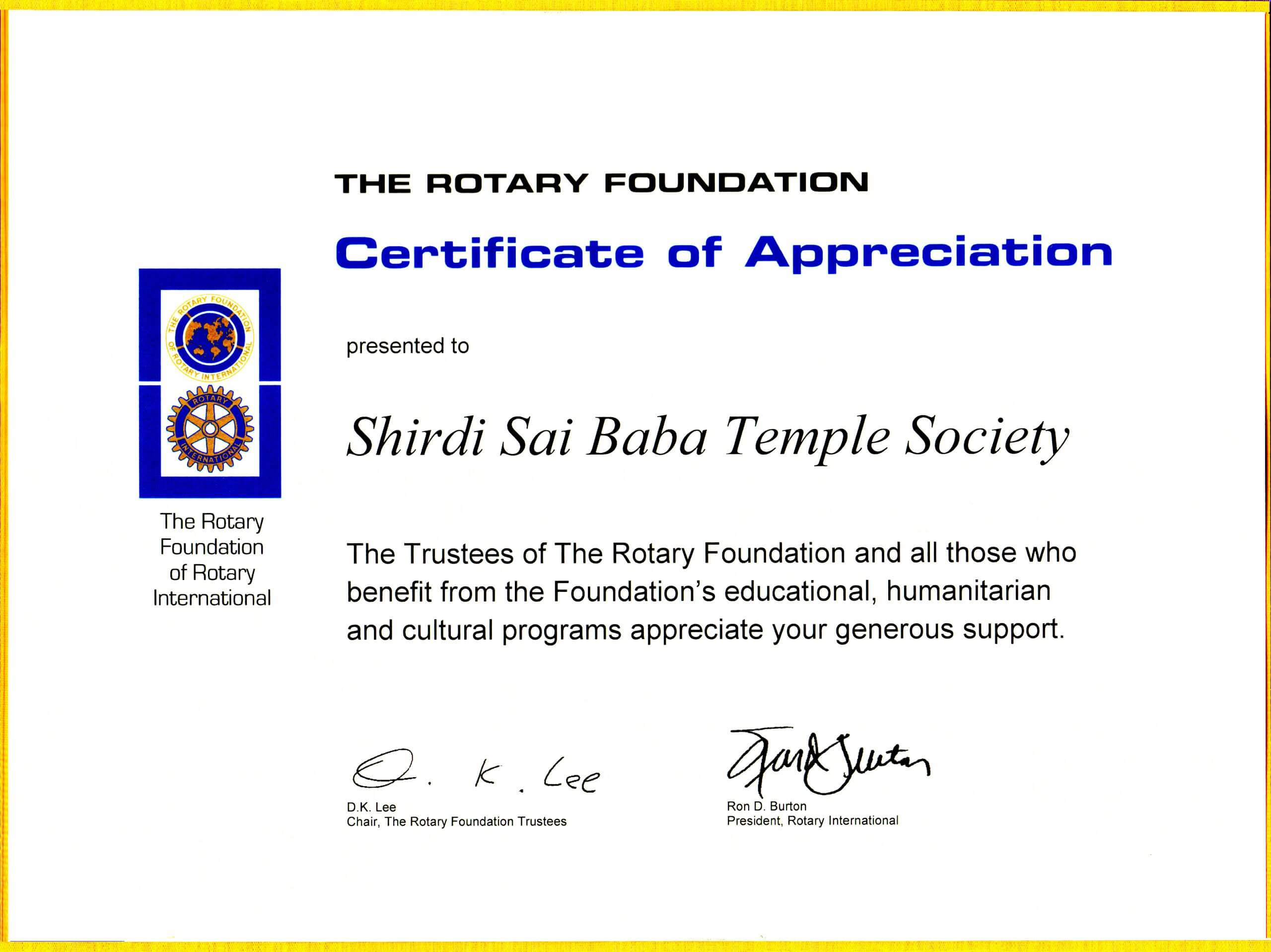 Certificate for Appreciation from Rotary Foundation